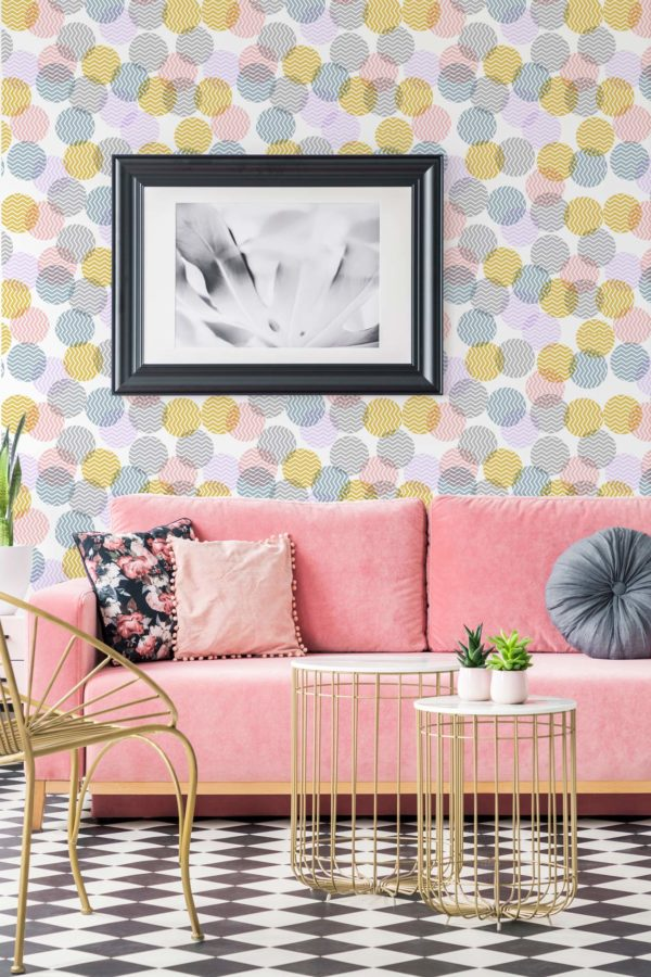 pink pastel zig-zag polka dots removable wallpaper