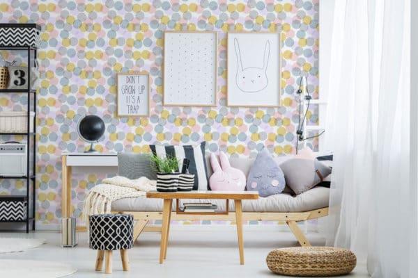 pink pastel zig-zag polka dots self-adhesive wallpaper