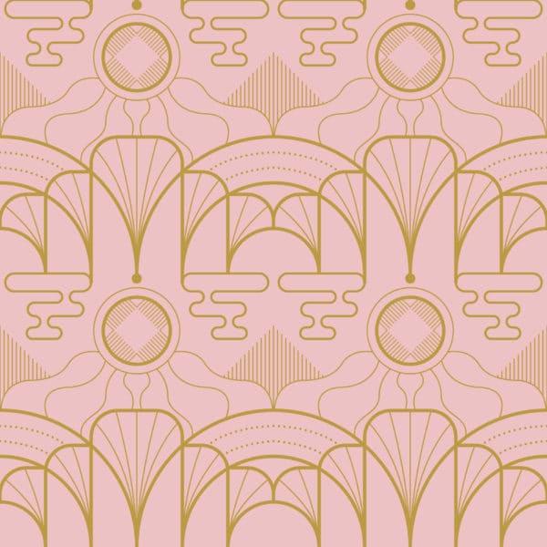 pink art deco self-adhesive wallpaper