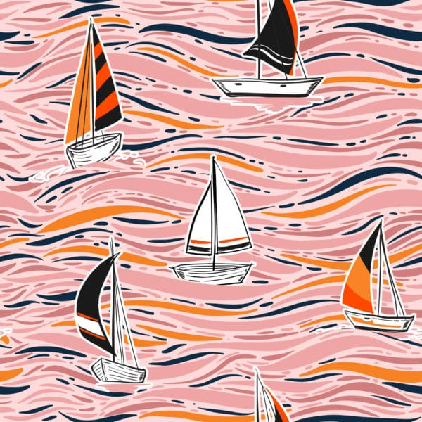 pink boat peel and stick removable wallpaper