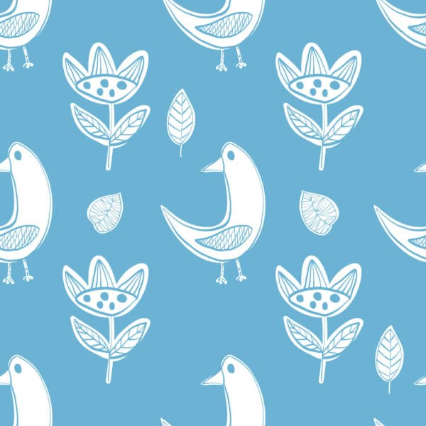 white and blue boho bird peel and stick removable wallpaper