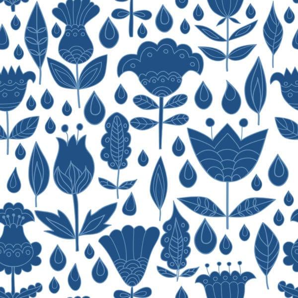 blue boho floral wallpaper peel and stick