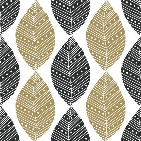 beige and black boho leaf wallpaper peel and stick