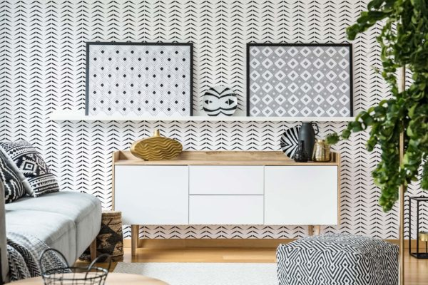 bold herringbone peel stick wallpaper