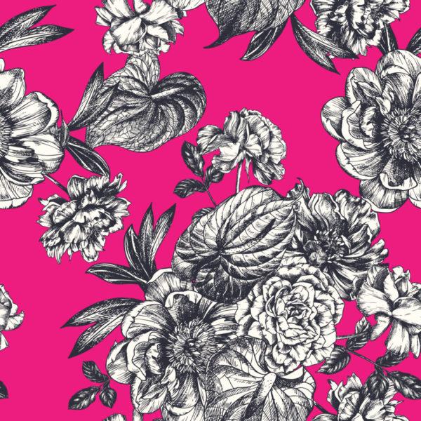 pink bright floral self-adhesive wallpaper