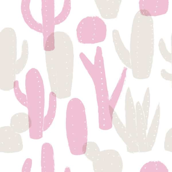 pink cactus peel and stick removable wallpaper