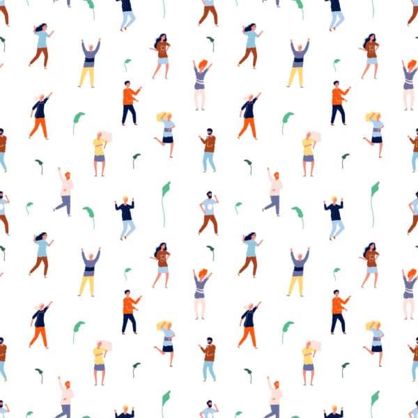 colorful dancing people peel stick wallpaper