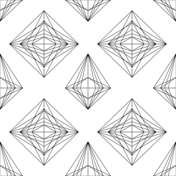 black and white diamond line art design pattern