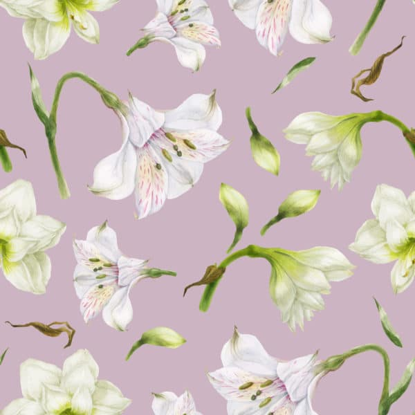 white and lavender floral peel and stick removable wallpaper