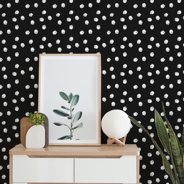 white and black hand-drawn circles peel and stick wallpaper