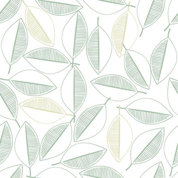 leaf line art peel stick wallpaper
