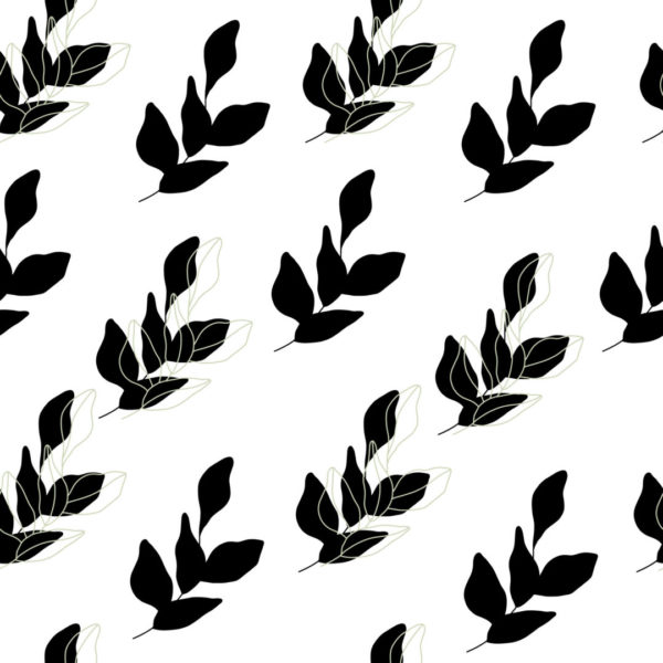 black and white leaves with green accent wallpaper peel and stick