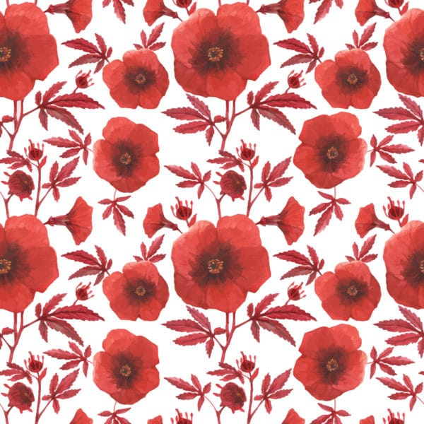 red and white poppy floral wallpaper peel and stick