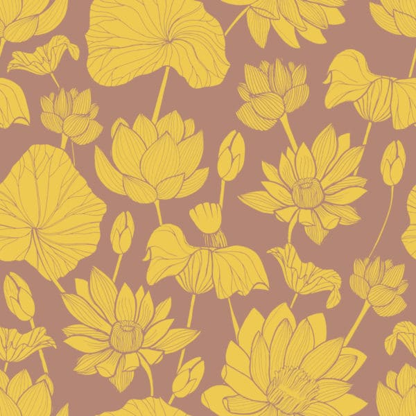 yellow and brown retro floral self-adhesive wallpaper