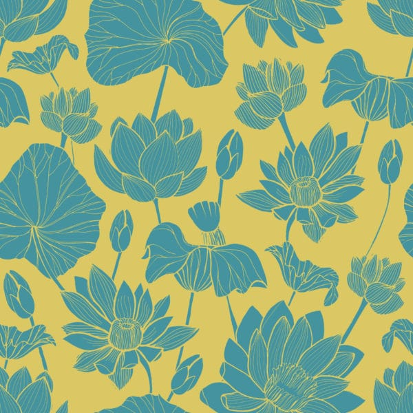 green and yellow retro floral self-adhesive wallpaper