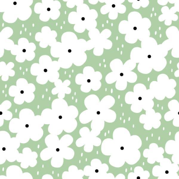 green retro floral self-adhesive wallpaper