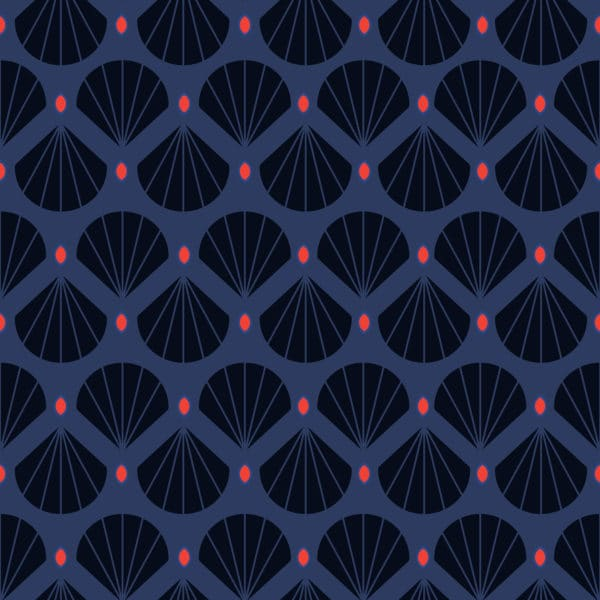 blue shell retro peel and stick removable wallpaper