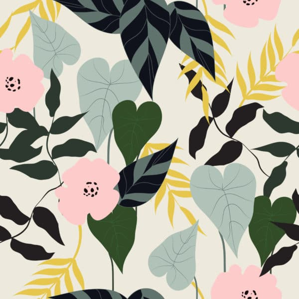 green tropical leaf and flower self-adhesive wallpaper