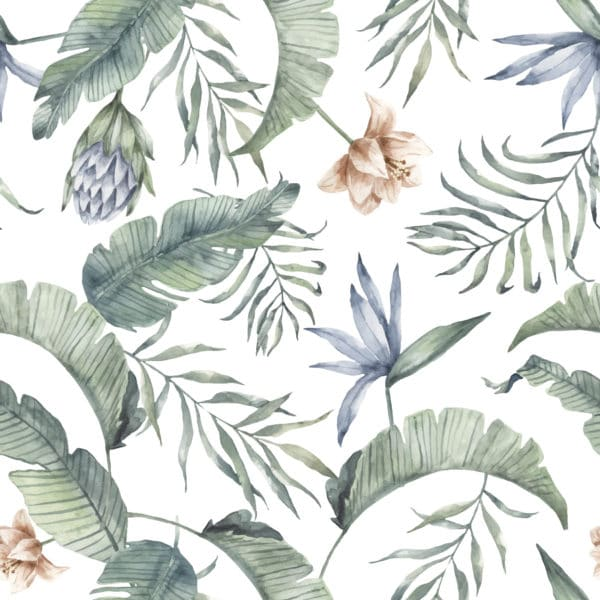green and white tropical peel and stick removable wallpaper