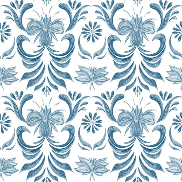 blue vintage floral self-adhesive wallpaper