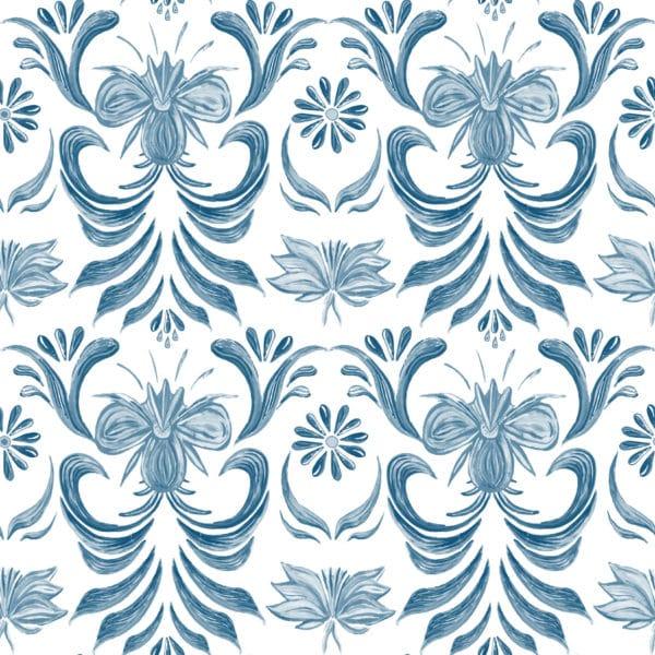 blue vintage floral self-adhesive wallpaper