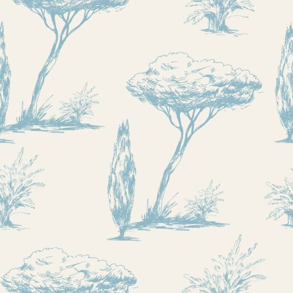 blue vintage tree peel and stick removable wallpaper