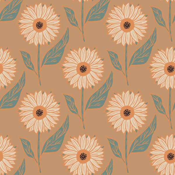 orange and brown warm sunflower floral self-adhesive wallpaper