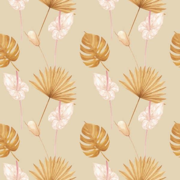 beige warm tropical leaf self-adhesive wallpaper