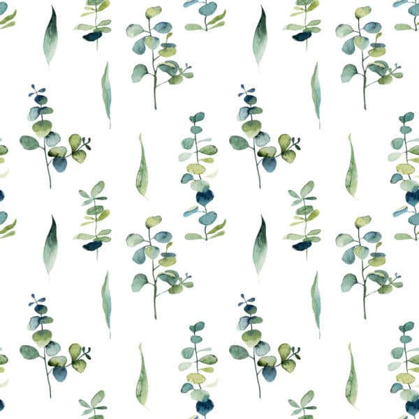green watercolor leaf self-adhesive wallpaper