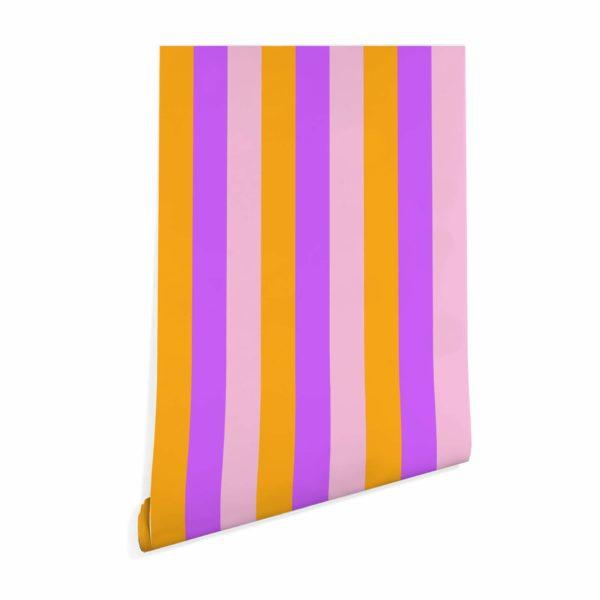 pink and orange stripe wallpaper roll