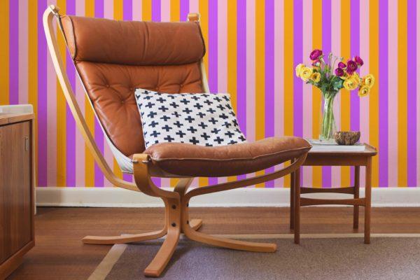 pink and orange stripe removable wallpaper