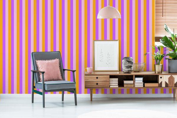 pink and orange stripe self-adhesive wallpaper
