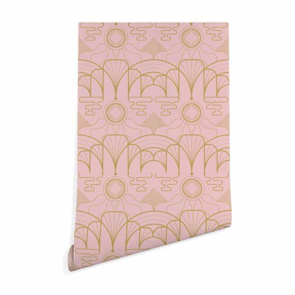 pink art deco removable wallpaper