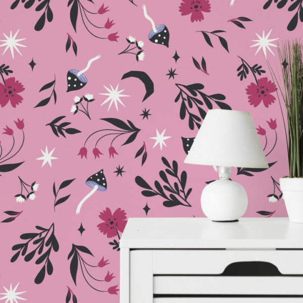 pink magical forest peel and stick wallpaper