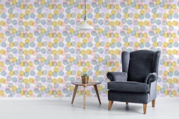 pastel zig-zag polka dots stick and peel wallpaper