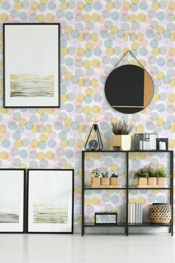 pastel zig-zag polka dots peel stick wallpaper