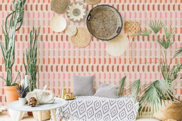 pink retro peel and stick removable wallpaper