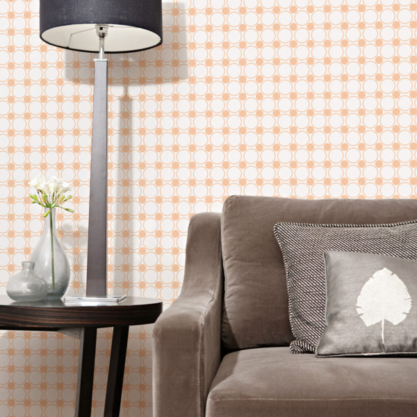 peach and white polka dot peel and stick wallpaper