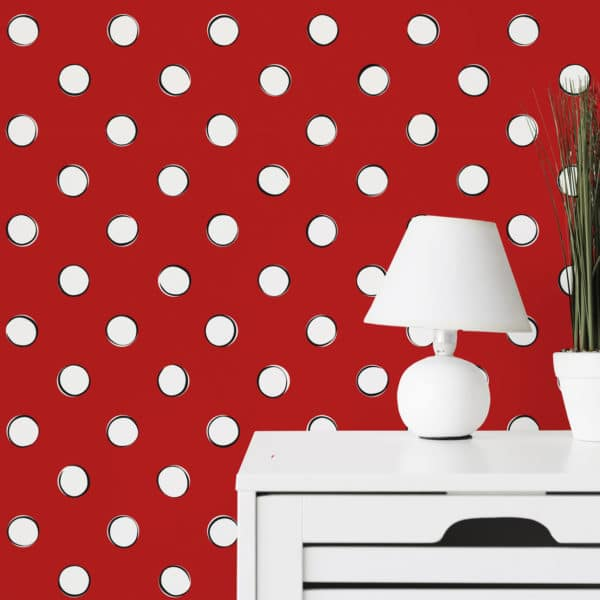 white and red polka dots wallpaper roll