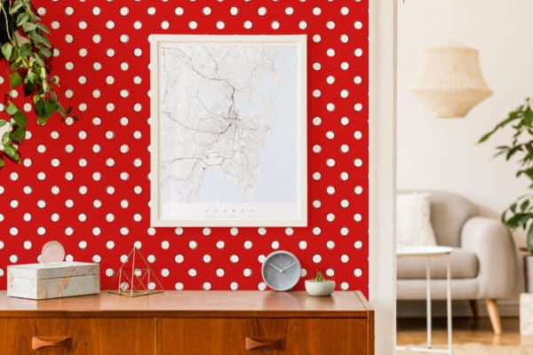 white and red polka dots removable wallpaper