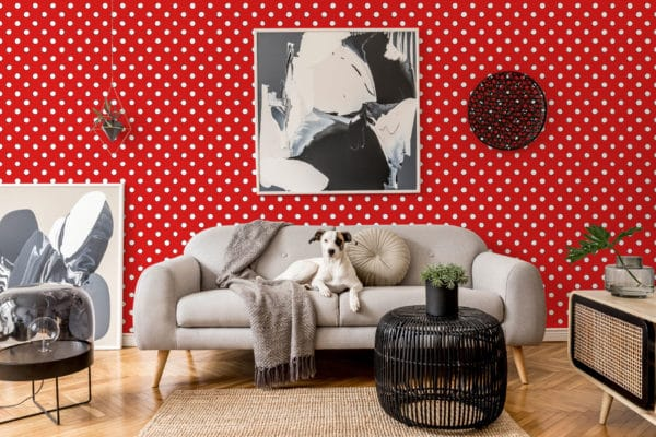 white and red polka dots peel and stick wallpaper