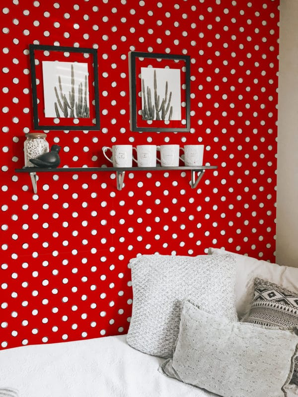 white and red polka dots peel and stick removable wallpaper
