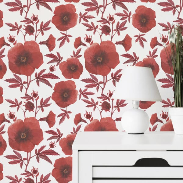 red and white poppy floral peel and stick wallpaper