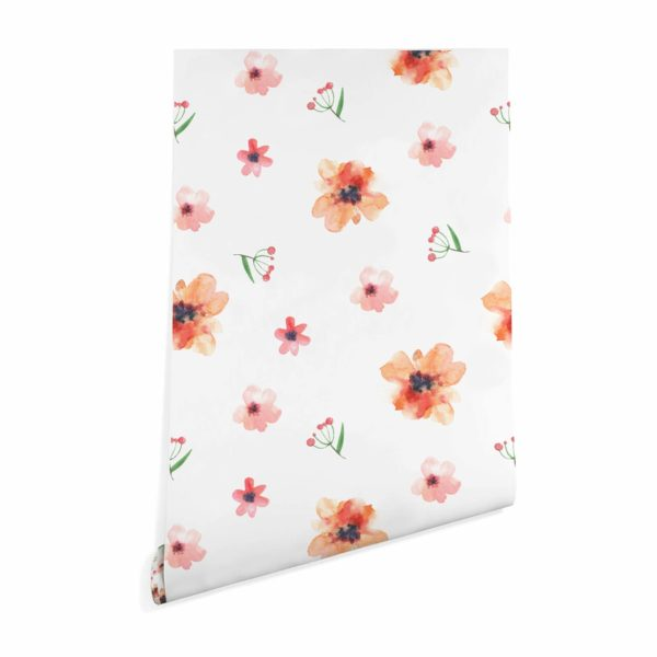 floral nursery stick and peel wallpaper