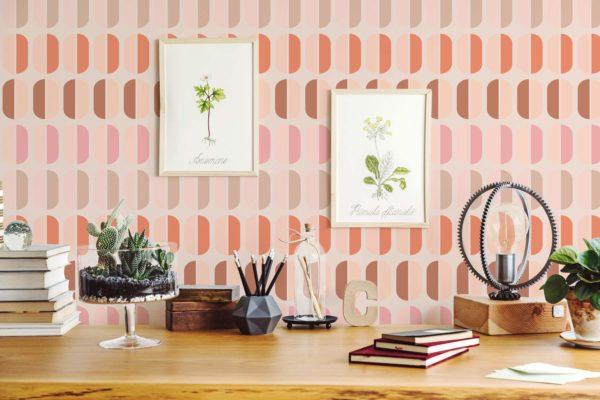 pink retro peel and stick wallpaper
