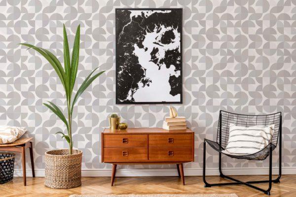beige retro peel and stick wallpaper