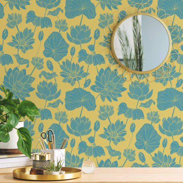 green and yellow retro floral peel and stick removable wallpaper