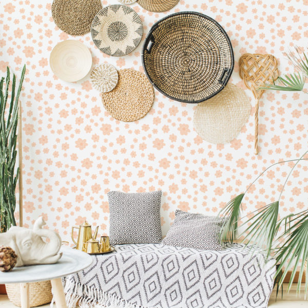 orange retro floral peel and stick removable wallpaper