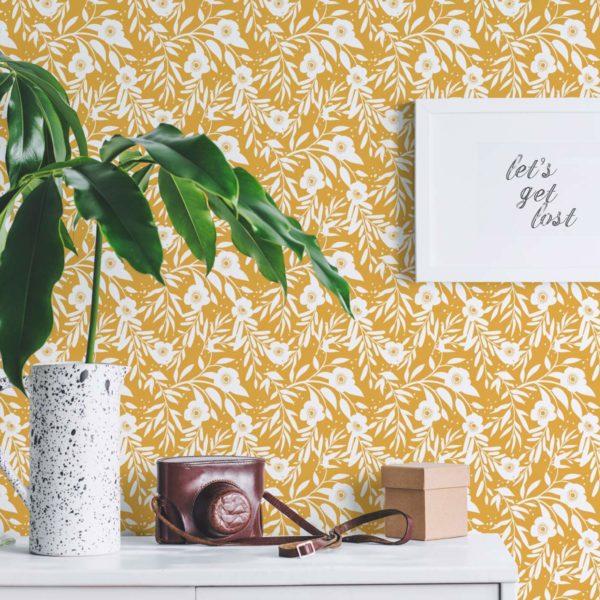 marigold retro floral self-adhesive wallpaper