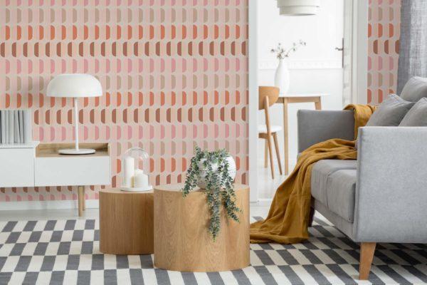 pink retro self-adhesive wallpaper